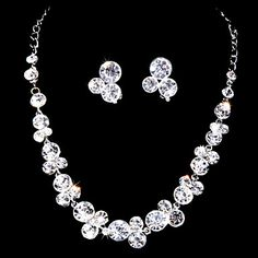 Sweet Alloy Silver Plated With Zircon&Rhinestone Wedding Bridal Jewelry Set(Including Necklace,Earrings) – USD $ 19.99