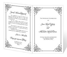 Instant Download  Wedding Program Template  Elegant Design  I