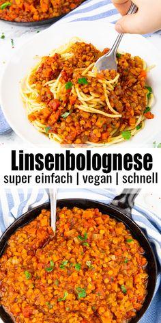 Diese Linsenbolognese ist das perfekte Familienessen für unter der Woche! Das Rezept ist super einfach, super gesund und einfach nur lecker. Und noch dazu ist es in 30 Minuten fertig!Mehr einfache vegane Rezepte findet ihr auf meinem Blog veganheaven.de! Vegetarian Pasta Recipes, Vegan Lunch Recipes, Lentil Recipes, Delicious Vegan Recipes, Vegan Dinners, Healthy Recipes, Easy Vegan Dinner, Easy Dinner Recipes, Easy Meals