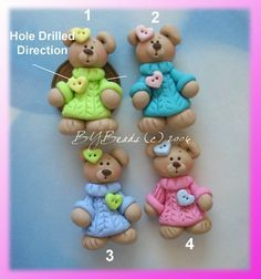 Bear wt Oversize Sweater Polymer Clay Charm Bead, Scrapbooking, Bow Center, Pendant, Cupcake topper, Magnet, Ring. $1.50, via Etsy.
