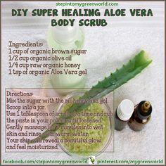 super healing aloe vera for body scrub Body Scrub Recipe, Diy Body Scrub, Diy Scrub, Face Scrub Homemade, Homemade Facials, Diy Skin Care, Skin Care Tips, Beauty Hacks For Teens, Organic Aloe Vera