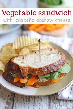 This crisp & flavorful vegetable sandwich is loaded with red bell peppers, onions, and spinach. It's finished with a generous slathering of jalapeño cashew cheese. Great for a packed lunches and picnics. #veganlunch #vegansandwich #veganpicnic Quick Vegan Meals, Quick Recipes, Vegan Dinners, Picnic Sandwiches, Wrap Sandwiches, Vegan Sandwiches, Vegan Sandwich Recipes, Vegan Recipes, Vegan Blogs