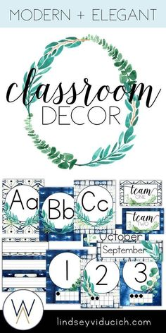 If you love shibori indigo dye and eucalyptus, you will love this classroom decor packet. the neutral blues and greens will be perfect for your classroom, Classroom Color Scheme, Classroom Decor Themes, Classroom Organisation, Classroom Design, Classroom Ideas, Classroom Crafts, Classroom Door, Year 6 Classroom, Garden Theme Classroom