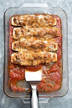 Italian Stuffed Zucchini Boats ~ http://www.fromvalerieskitchen.com