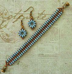 "SUPERDUO FLOWER CHAIN EARRINGS   11/0 seed beads Miyuki ""Dark Bronze"" (11-457D)  8/0 seed beads Miyuki ""Dark Bronze"" (8-457D)  SuperDuo..."