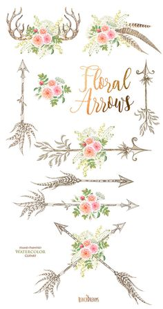 Watercolor Flowers Clipart feathers horns antlers by ReachDreams