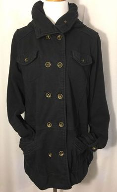Hurley Vintage Button Down Jacket With Hoodie XL Black In Excellent Condition | eBay