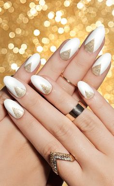 Gold triangle V on white nail design inspiration