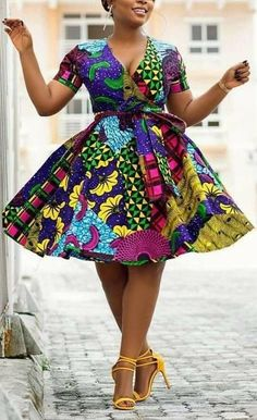 African Print Wrap Dress- Flare Dress - Ankara -Ankara Print -African Dress -Handmade - Africa Clothing - African Fashion at Diyanu Short African Dresses, Latest African Fashion Dresses, African Print Dresses, African Dress Styles, Ankara Fashion, Short Dresses, African Print Clothing, African Print Fashion, African Prints