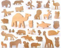 ANY 2 animals Organic wooden toy wooden animals por mielasiela