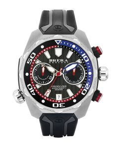 Brera ProDiver chronograph watch. 47mm stainless steel case with raised unidirectional rotating bezel. Screw-down crown; extra-thick, antireflective K1 mineral crystal. Dual molded rubber strap with b