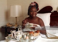 Picture dated 20 July 1988 of legendary jazz and blues singer Nina Simone taking her breakfast at a Juan-Les-Pins hotel during the Jazz festival in the French southern Riviera town. Simone died 21 April 2003 at the age of 70 ather home in southern France, said her manager in a statement. AFP PHOTO Michel GANGNE