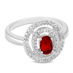 Red cubic zirconia double circle ring