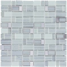 Elida Ceramica Silver Windows Staggered Mosaic Glass and Metal Wall Tile (Common: 12-in x 12-in; Actual: 11.75-in x 11.75-in)
