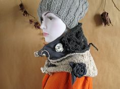 Cowl scarf infinity scarf hand made scarf circle by recyclingroom