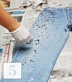 Paint splattered jeans DIY