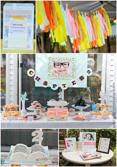 """""""Chapter 2"""" Book Themed Birthday Party: great colors, book-shaped cake with bookpage number topper"""