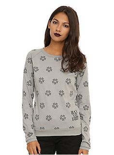 <p>Grey long-sleeved pullover top from Black Veiled Brides with an allover symbols print design.</p>  <ul> 	<li>100% cotton</li> 	<li>Wash cold; dry low</li> 	<li>Made in USA</li> 	<li>Listed in junior sizes</li> </ul>