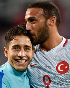 #EURO2016 Turkey's forward Emre Mor and Turkey's forward Cenk Tosun celebrate their team's victory at the end of the Euro 2016 group D football match between...