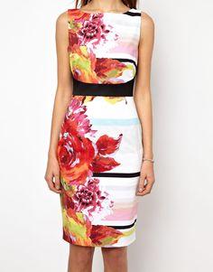 Karen Millen Bodycon Dress in Floral and Stripe Print