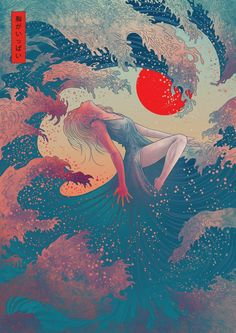 Contemporary Japanese Art on Behance - Contemporary Art Home Bild, Japanese Artwork, Modern Japanese Art, Japanese Waves, Japanese Drawings, Japanese Painting, Japanese Art Samurai, Traditional Japanese, Japanese Style