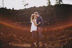 sisters oregon lava engagement photo
