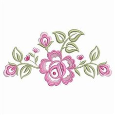 Ace Points Embroidery Design: Dainty Roses Border 2.02 inches H x 3.83 inches W