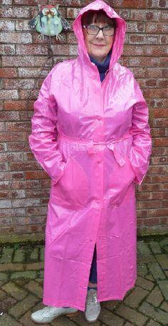 Rain Bonnet, Pink Raincoat, Pink Plastic, Rain Wear, Capes, Rain Jacket, Windbreaker, Jackets, Fashion