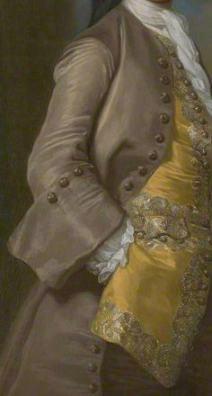 Oyster silk Frockcoat with matching buttons and large upturned cuff typical of 1740s fashion. Gold silk waistcoat with silver and gold lace trimmings with metallic buttons. White linen ruffles at wrist and white linen stock. Detail from portrait of Captain Richard Chadwick (d.1748) by George Knapton, 1744.