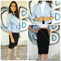 Vintage jeans jacket with stud buttons and by girlsaboutcity