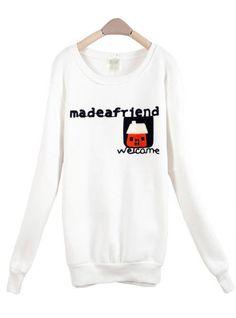 White House Round Neck Long-sleeved Sweatshirt$36.00