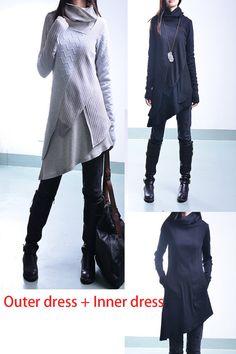 Meine zen - dekonstruiert geschichteten stricken Tunika-Kleid / asymmetrisch Boho Tunika / Baumwollripp Tunika-Kleid (Y1221)