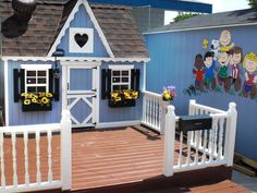 ✥ Customized Kit.  This playhouse started as a kit but was greatly enhanced. 'We added our own deck, roof, floor, insulation, drywall, vents and decor and ran electric cables for the lighting. Yup and even a door bell!' says RMSer mommyoftwins.