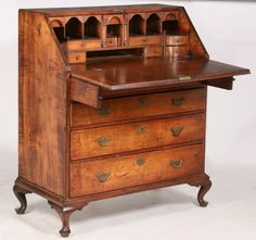 rare early queen anne desk slant lid desk in figured lot 560