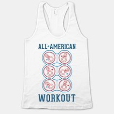 All American Workout: Sure you're getting fit, look at your 6 pack! Flex those canned abs and celebrate your freedom with this all american workout design! #USA #merica #workout #fitness #funny #abs #6pack