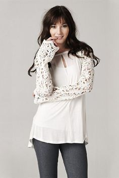 Love the White Blouse with Lace Sleeves
