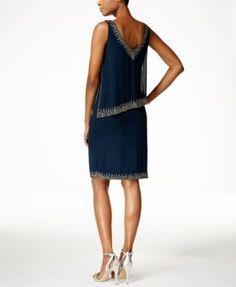 J Kara Beaded Capelet Dress | macys.com