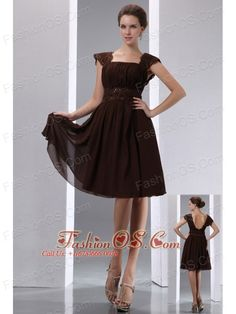 Gorgeous Brown A-line Square Beading Mother Of The Bride Dress Knee-length Chiffon- $98.79http://www.fashionos.com  http://www.facebook.com/quinceaneradress.fashionos.us  This elegant prom dress is fitable for any of the occasion. This dress is unique, it looks like in two pieces, but acctually it just in one piece. The mid-length sleeve help you to hide the peak point of your arm. The V-neck neckline creates a sexy look. The ruched bodice with a ruched band has a fascinating effect.T