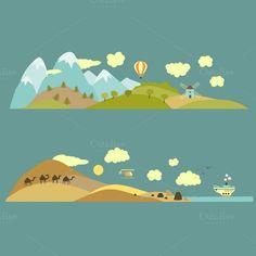 Landscapes:mountain,plain,sea,desert by masastarus on Creative Market