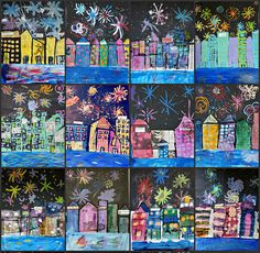 """Jackson Pollock fireworks show (by Calvin)         This fun and """"everything but the kitchen sink"""" lesson is a take on this mixed media cityscape project I did a few months ago. """"Miss Mary, the 4th of"""