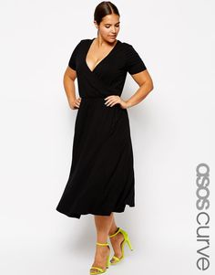 ASOS Curve | ASOS CURVE Midi Skater Dress with Wrap Front at ASOS