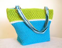 Bright blue white and kiwi green tote bag, crocheted fully lined