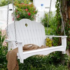 classic cottage porch swing - want one. And a porch to go with it! Bench Swing, Patio Swing, Swing Seat, Wooden Garden Swing, Garden Swings, Porch Swings For Sale, Porches, Outdoor Spaces, Outdoor Living