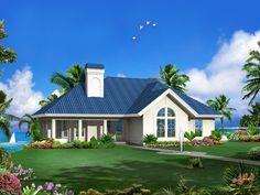 1700 Sq. Ft.  Marina Bay Sunbelt Atrium Home Front of Home from houseplansandmore.com