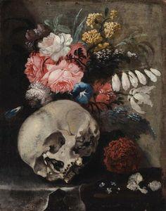 Ludovico Stern (1709-1777) - Vanitas - peinture Momento Mori Tattoo, Vanitas Vanitatum, Don't Fear The Reaper, Still Life Flowers, Classical Art, Natural Forms, Memento Mori, Painting Inspiration, Les Oeuvres