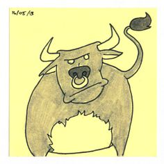 365 #daily #post-it #drawing of an angry bull