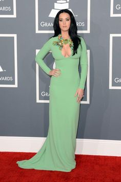 Katy perry in mint green Gucci at Grammys 2013