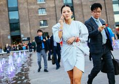 Fashion Week Street Style: Spring 2016 Ready-to-Wear |Tina Leung in a J.W.Anderson dress