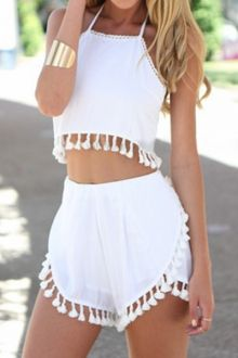Spaghetti Strap Solid Color Fringe Tank Top + Shorts