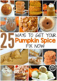 Don't wait for October for Pumpkin season to arrive! You can enjoy enjoy pumpkin now so here are 25 Ways to Get Your Pumpkin Spice Fix Right Now! Fall Desserts, Just Desserts, Delicious Desserts, Dessert Recipes, Yummy Food, Dessert Ideas, Tasty, Thanksgiving Recipes, Fall Recipes